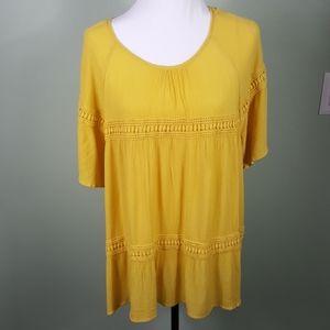 New Directions Mustard Yellow Boho Top XL